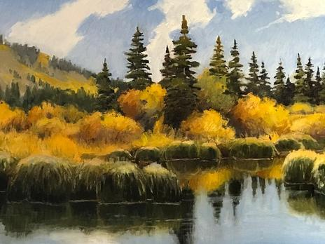 autumn water scene by artist Dean Mabe