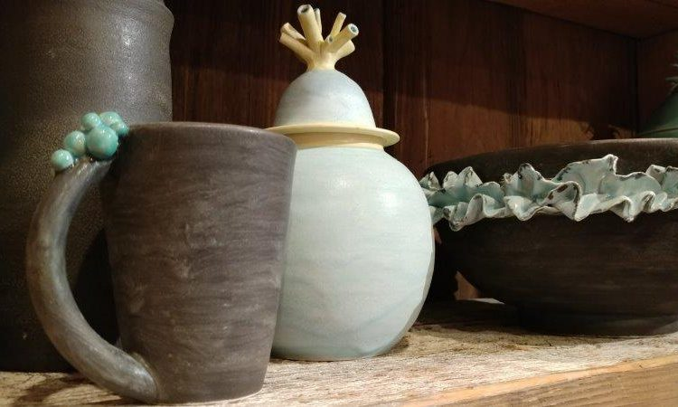 ceramic art at Two Old Crows gallery