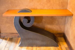 custom metal and wood table by Philip Graveson