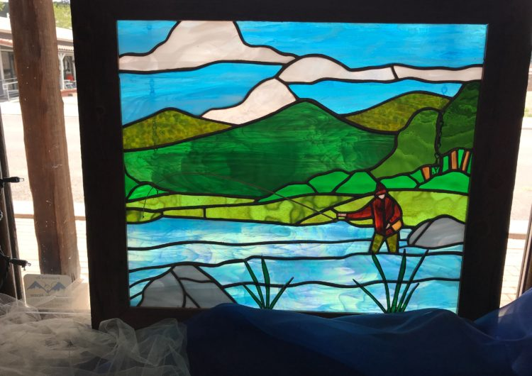 mountain scene in glass by Jolene Ratliff